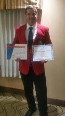 LTC student Matt Berry holds the awards he won for CNC Milling.