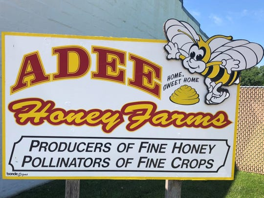 This sign welcomes visitors to the offices of Adee Honey Farms, a beekeeping business started in 1959 in Bruce, S.D., which is now one of the world's largest bee providers to the agricultural industry.