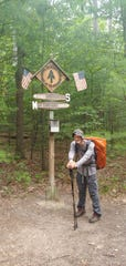 Joseph White at the halfway point of the Appalachian Trail in Pennsylvania.