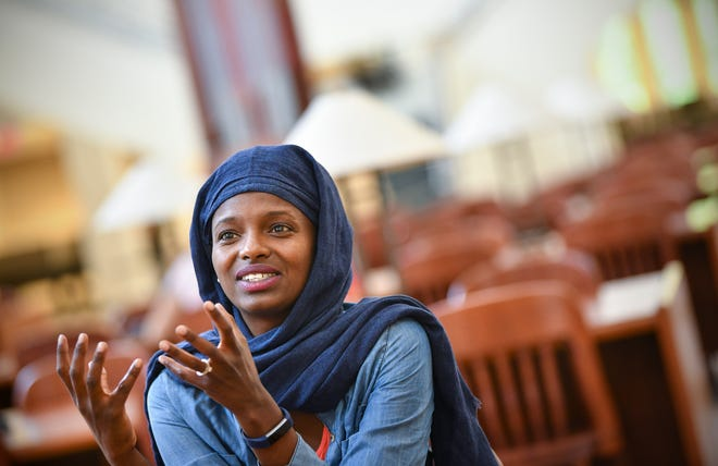 Ayan Omar talks about her hopes for the community during an interview Monday, July 29, 2019, at St. Cloud State University.