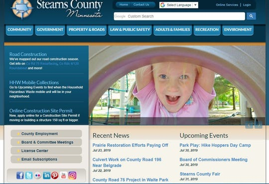 A screenshot of the Stearns County website on Tuesday, July 30, 2019.
