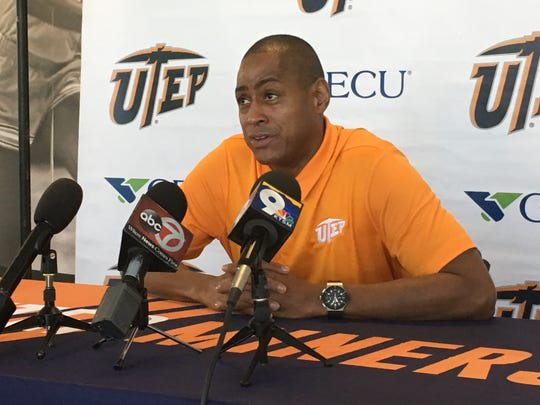 UTEP basketball coach Rodney Terry discusses the team's schedule Tuesday, July 30, 2019, at the Foster-Stevens Center.