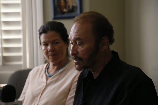 Carlos Spector, an El Paso immigration attorney, and film director Pamela Yates are shown during a news conference on two asylum-seekers on Tuesday, July 30, 2019.