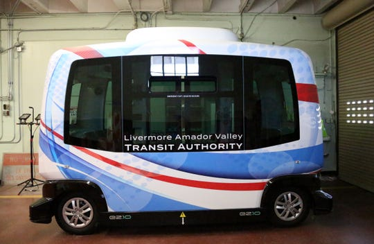 Livermore Amador Valley Transit Authority autonomous bus, at GoMentum Station, in Walnut Creek, CA, Tuesday July 16, 2019. The site which is closed to the public, is  used as proving grounds for autonomous vehicles.