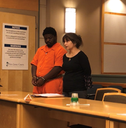 Bridgeton resident Frank J. Baker, 25, and state Deputy Public Defender Dinaz Akhtar were in Cumberland Superior Court on Tuesday. Baker (left) is in the county jail for allegedly fatally shooting  a man on July 20 in Fairfield Township.