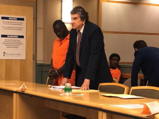 Cedarville resident Frank I. Baker III and defense attorney Terry Stomel were in Cumberland County Superior Court on Tuesday. The defendant (left) is charged with trying to obstruct a homicide investigation.