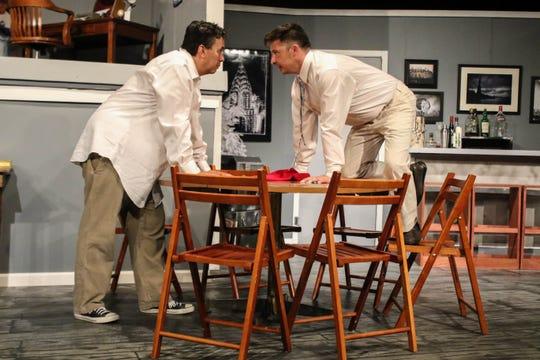 "John Olmos as Oscar Madison and Henry Allen Ralston as Felix Ungar in ""The Odd Couple."""