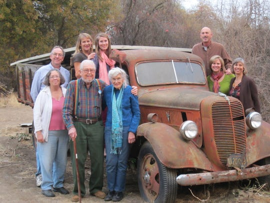 Lovett family members in 2011 with the Ford truck that moved them to California. Bill and Beth are second and third from the left.