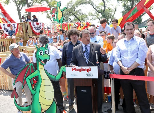 "County Executive George Latimer speaks at a press conference as he officially opens the new ride at Playland called ""Dragonator"" July 30, 2019 in Rye."