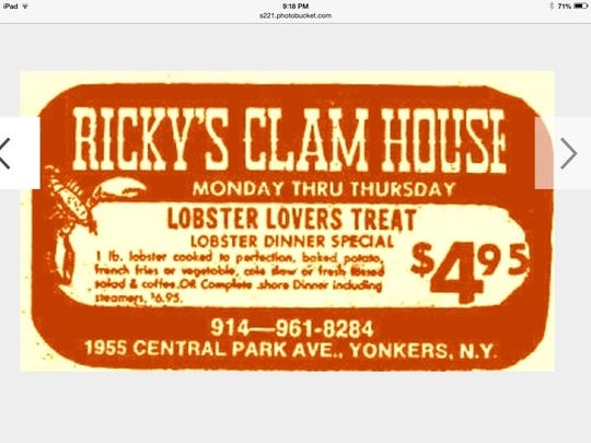 An early advertisement for Ricky's Clam House in Yonkers. The lobster dinner was $4.95.