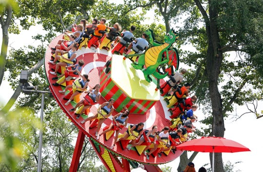 """Campers try out the new ride at Playland called """"Dragonator"""" during the official opening July 30, 2019 in Rye."""