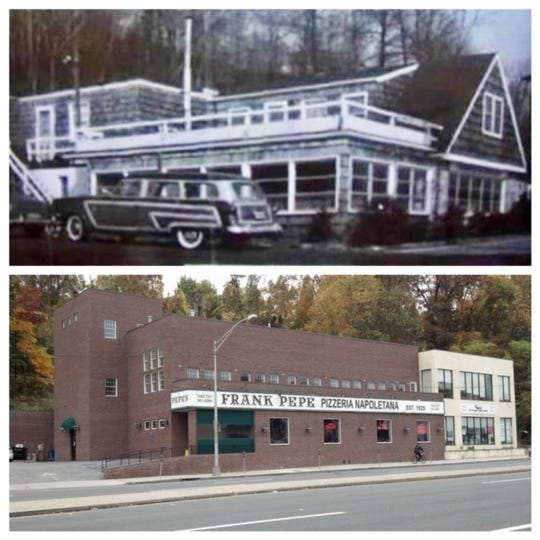 Ricky's Clam House on Central Avenue in Yonkers. Top: In its heyday; bottom, the site is now Frank Pepe Pizzeria.