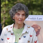 Rosemarie D'Alessandro attends a press conference July 30, 2019 near where the body of her daughter, Joan, was found in Harriman State Park in 1973.