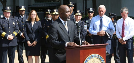 Former Wilmington Chief Bobby Cummings speaks at a press conference Tuesday morning where a new program was introduced to reduce gun violence in Wilmington.