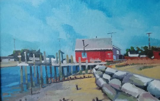 During a visit to Bowers Beach, one of Inez Sunshine's friends did this oil painting of Frenchie's Tackle & Bait Shop.