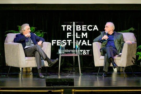 Robert De Niro and Martin Scorsese at the Tribeca Film Festival at Beacon Theatre on April 28, 2019 in New York City.