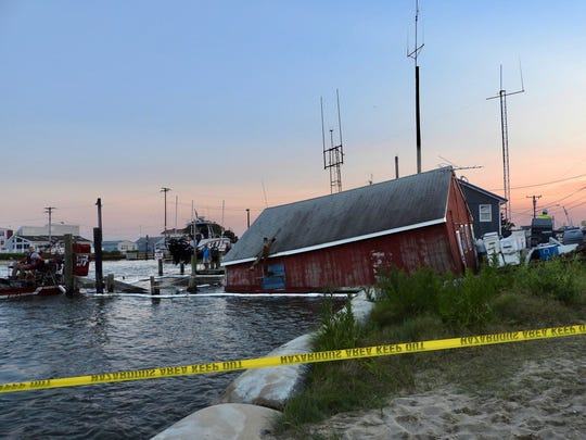 Frenchie's Bait & Tackle, a Bowers Beach icon, slid into the Murderkill River  Monday night.