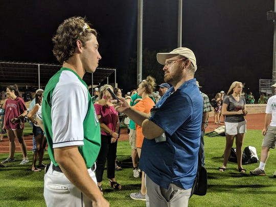 The TRN's Zach Duncan interview's Iowa Park's Justin Thornhill after a 2018 playoff baseball game.