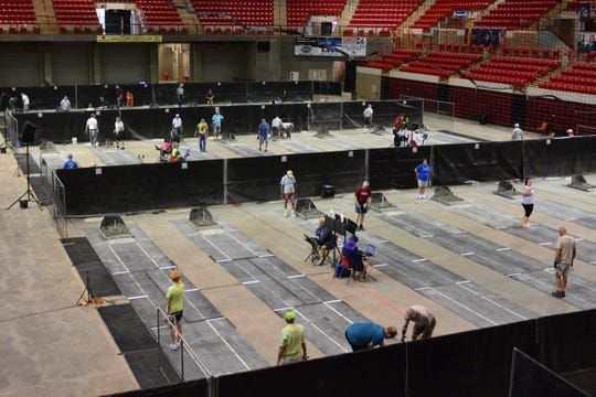 The courts will be full when the Championships of the National Horseshoe Pitching Association's World Horseshoe Tournament take place Friday and Saturday at Kay Yeager Coliseum.