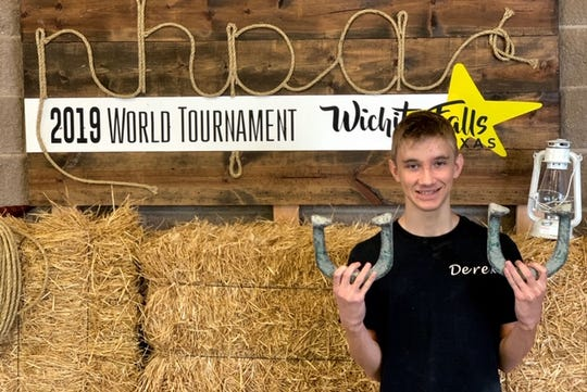 2018 and newly named 2019 Juniors champion Derek Reynolds (13 years old) will be watching the elevated competition Friday and Saturday at the Championships of the National Horseshoe Pitching Association's World Horseshoe Tournament at Kay Yeager Coliseum.