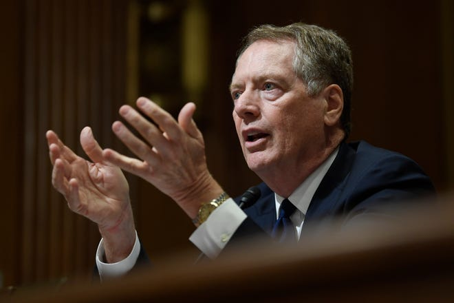 """U.S. Trade Representative Robert Lighthizer testifies before the Senate Finance Committee on Capitol Hill in Washington. Congressional Democrats appear to be moving from a """"no way"""" to a """"maybe"""" on President Donald Trump's rewrite of a trade pact with Canada and Mexico. House Democrats have met four times with Lighthizer, most recently on Friday, July 26, and both sides say"""