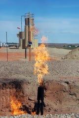 FLaring natural gas near Parshall, North Dakota.