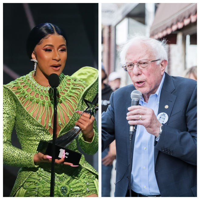Rapper/singer Cardi B, left, and Democratic presidential candidate Bernie Sanders are teaming up on a video to appeal to younger voters.
