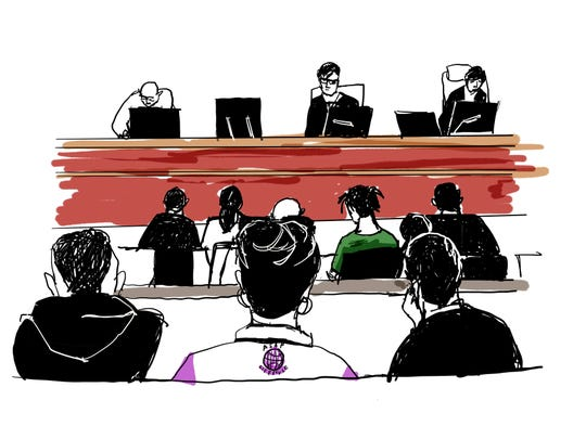 In a court illustration, Rakim Mayers known as A$AP Rocky, is seen in green shirt, as he sits in the district court in Stockholm, Sweden, Tuesday July 30, 2019, to face charges of assault, in Stockholm, Sweden, Tuesday July 30, 2019.