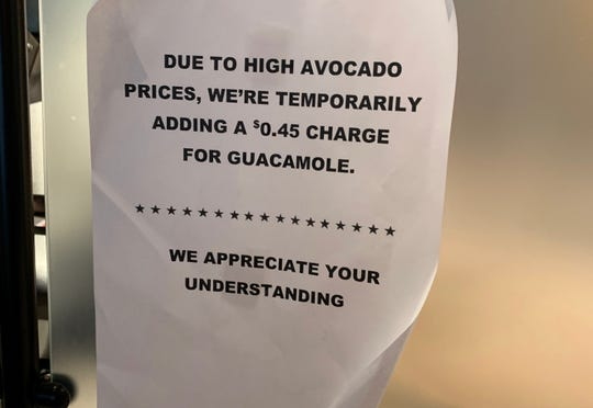 A Qdoba in Greenwood, Indiana recently posted a sign saying the location was temporarily adding a charge for guacamole because of high avocado prices. Qdoba corporate officials say the location was part of a test, which has now ended.