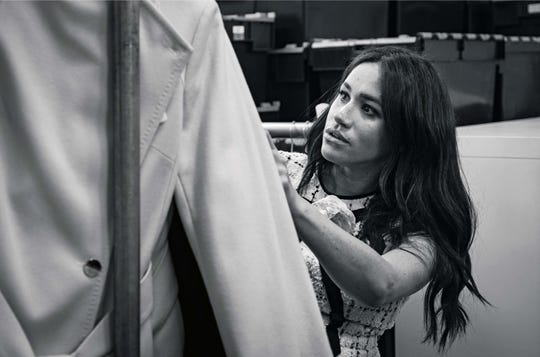 Duchess Meghan is here pictured during her guest editorship for British Vogue.