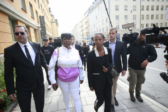 Renee Black (2nd L), ASAP Rocky's mother, arrives at the district court to follow her son's trial in Stockholm on July 30.