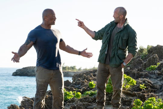 Johnson (left) knows he's onto something when he can make stone-faced Statham laugh during a scene.