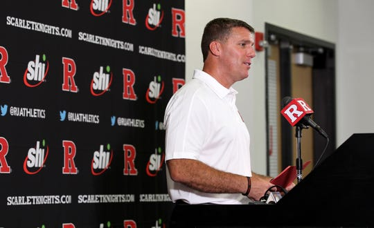Rutgers football coach Chris Ash speaks during the media day availability Wednesday, July 31, 2019.