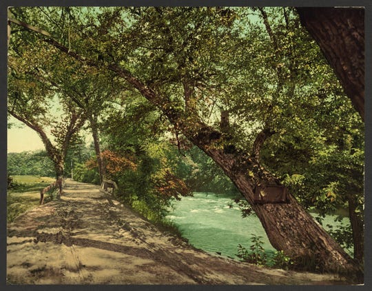 """Lover's Bridge on the Swannanoa"" postcard"