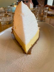 It stands tall, and tastes great. It's the Sky High Key Lime Pie at the Fat Snook in Cocoa Beach.