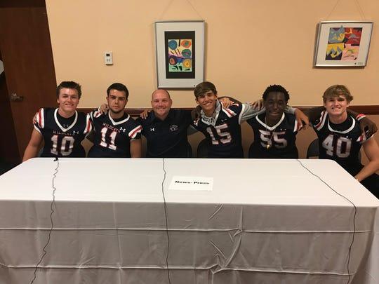 Estero was represented at Lee County Football Media Day Wednesday by Jack Zigler, Sage Haislip, head coach Darren Nelson, Tanner Elliott, Elijah Andre and Jack Warson