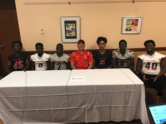 South Fort Myers was represented at Lee County Football Media Day by  Eddie Walls, Joel Rene, Quincy Milhomme, head coach Willis May, Tzion Hamilton, Nate Badeau and Demarion Johnson