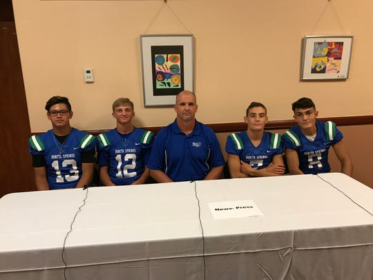 Bonita Springs was represented at Lee County Football Media Day Wednesday by Xavier Estrada, Drew Dyer, head coach Rich Dombrowski, Owen Cintron and Joesph Martinez