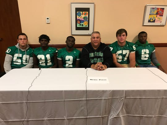 Fort Myers was represented at Lee County Football Media Day Wednesday by Joshua Repetti, Bradley Merilus, Yasias Young, head coach Sam Sirianni, Jr., Cayden Baker, Dorrian Felix