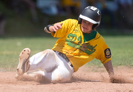 S.D. Ireland's Tyler Skaflestad scores a run during the 2019 American Legion baseball state championship in Colchester on Wednesday, July 31.