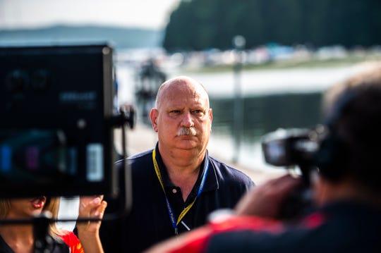Colchester Police Chief Doug Allen briefs the press in Colchester, VT, July 31, 2019.