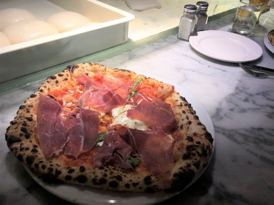 The margherita topped with prosciutto di Parma at Pizzeria Verita on July 30, 2019