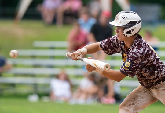 Brattleboro Post 5's Chris Frost lines up a bunt during the 2019 American Legion baseball state championship in Colchester on Wednesday, July 31.