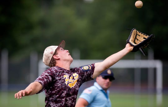 Brattleboro Post 5 first baseman Hunter Beebe catches a foul ball for the final out during the 2019 American Legion baseball state championship in Colchester on Wednesday, July 31.