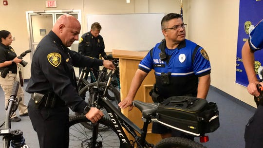 Corpus Christi Police Chief Mike Markle touches a new department bicycle on Wednesday, July 31, 2019 at department headquarters. The Corpus Christi Police Foundation and other community partners helped with the purchase of four new bicycles for the police department's Bicycle Unit.