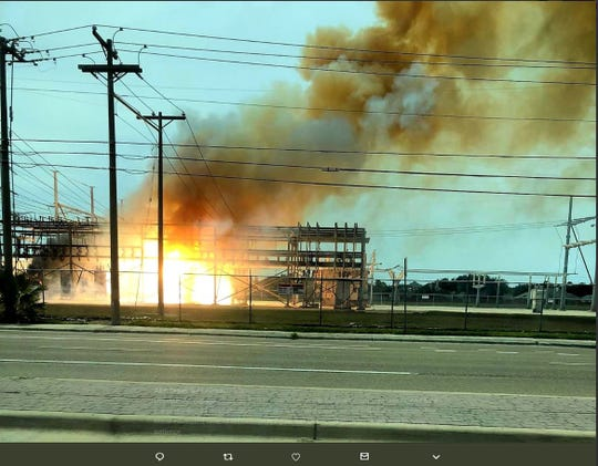 AEP Texas tweeted a photo of the Rodd Field Substation on fire in Corpus Christi on Wednesday, July 31, 2019. The fire left 14,000 customers without power.