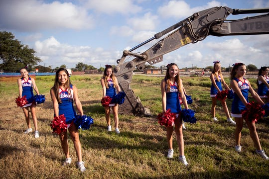 Gregory-Portland Middle School cheerleaders perform at a groundbreaking for the school on Wednesday, July 31, 2019.