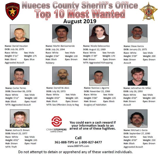 Anyone with information about these wanted people should call Crime Stoppers at 361-888-8477 or 1-800-827-8477.