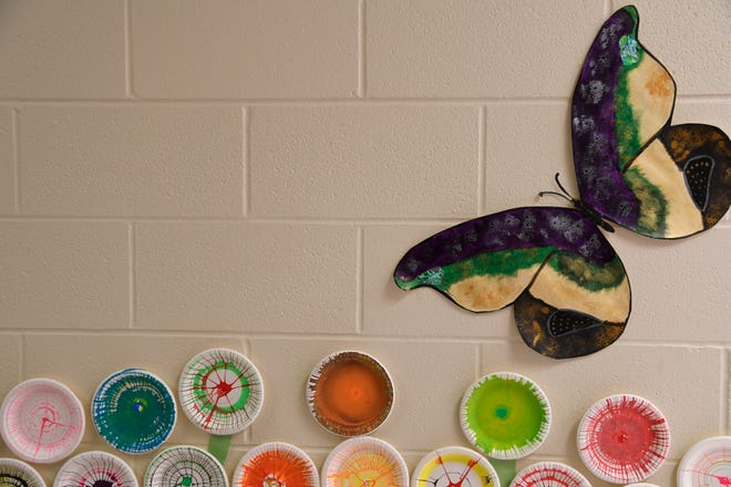 North Texas State Hospital patient art decorates hallways, Monday, April 8, 2019, in Vernon, Texas.