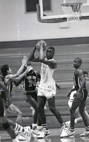 San Antonio Cole's Shaquille O'Neal (No. 33) took on West Oso during the IV-3A regional semifinals on March 3, 1989 at Steinke Event Center at Texas A&I University in Kingsville.